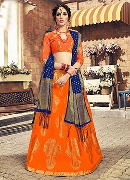 Orange Art Benarasi Silk A Line Lehenga