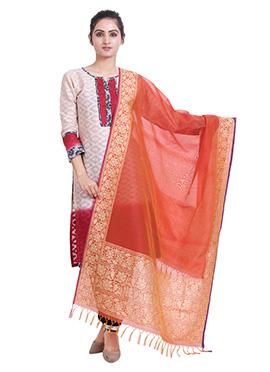 Orange Art Benarasi Silk Dupatta