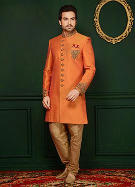 Orange Art Benarasi Silk Indowestern Sherwani