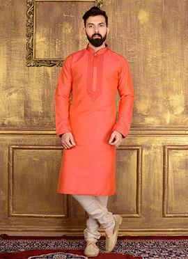 Orange Art Benarasi Silk Kurta Pyjama