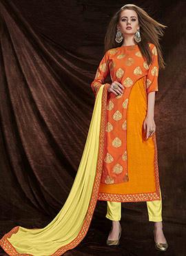 Orange Art Benarasi Silk Straight Pant Suit