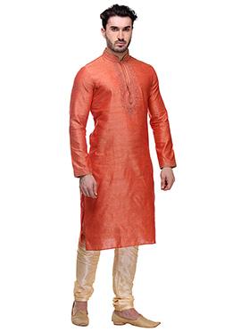 Dark Orange Art Bhagalpuri Silk Kurta Pyjama