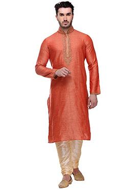 Orange Art Bhagalpuri Silk Kurta Pyjama