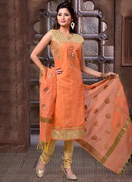 Orange Art Chanderi Silk Churidar Suit