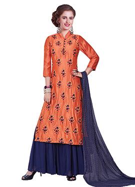 Orange Art Chanderi Silk Sharara Suit