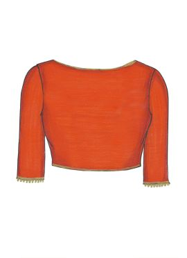 Orange Art Dupion Silk Blouse