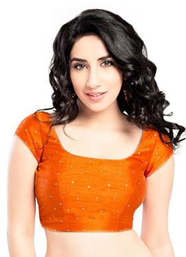Orange Art Dupion Silk Blouse