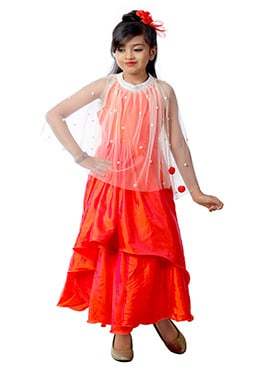 Orange Art Dupion Silk Cape Style Anarkali Gown