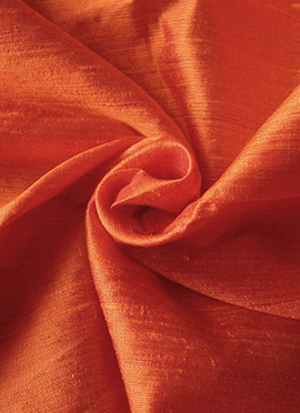 Orange Art Dupion Silk Fabric