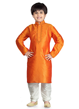 Orange Art Dupion Silk Kids Kurta Pyjama