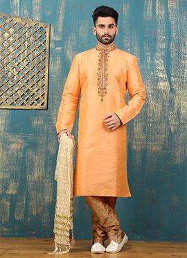 Orange Art Dupion Silk Kurta Pyjama