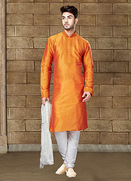 Orange Art Dupion Silk Kurta Pyjama