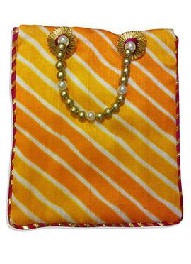 Orange Art Dupion Silk Leheriya Patterned Hand Bag