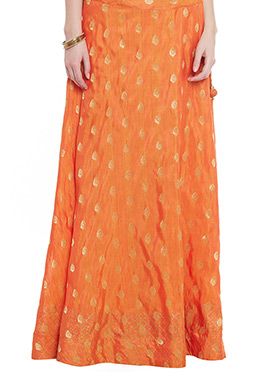 Orange Art Dupion Silk Skirt
