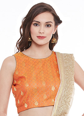 Orange Art Dupion Silk Top