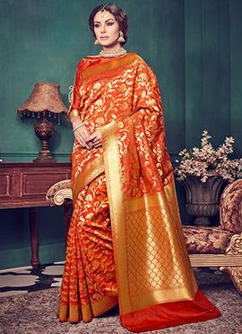 Orange Art Kancheepuram Silk Saree