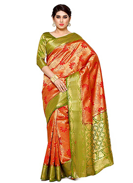 Orange Art Kancheepuram Silk Saree