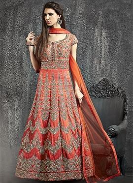 Orange Art Raw Silk Anarkali Gown