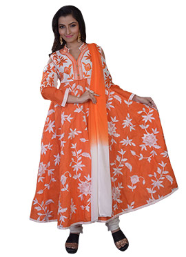 Orange Art Raw Silk Anarkali Suit