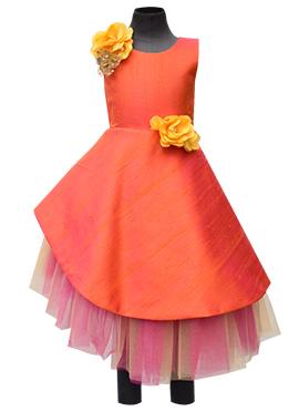 Fayon Orange Art Raw Silk Asymmetric Kids Dress