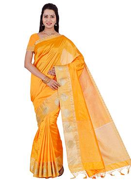 Orange Art Raw Silk Saree
