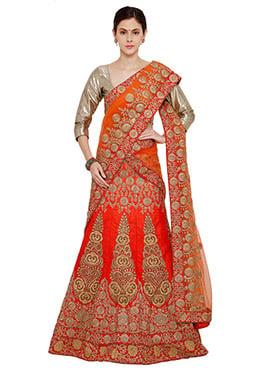 Orange Art Silk A Line Lehenga Choli