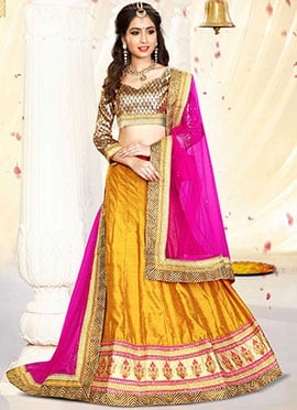 Orange Art Silk A Line Lehenga Choli