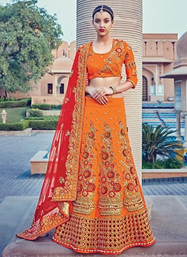 Orange Art Silk A Line Lehenga