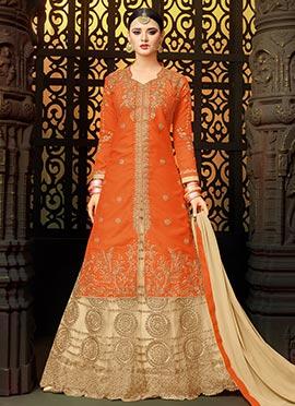 Orange Art Silk A Line Lehenga