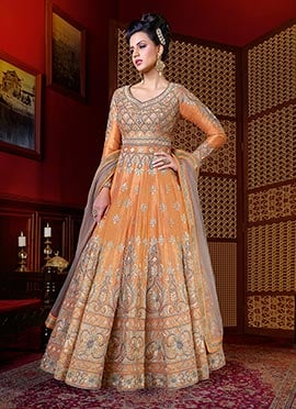 Orange Art Silk Abaya Style Anarkali Suit