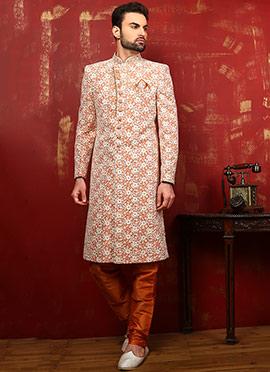 Orange Art Silk Achkan Sherwani