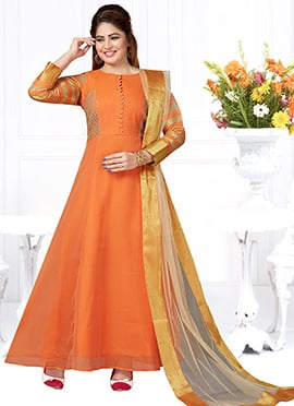 Orange Art Silk Anarkali Suit