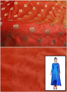 Orange Art Silk Asymmetrical Anarkali Suit