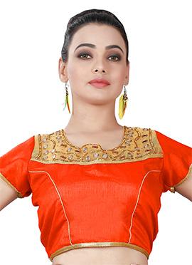 Orange Art silk Blouse