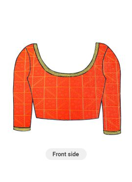 Orange Art Silk Blouse with Elbow Sleeve