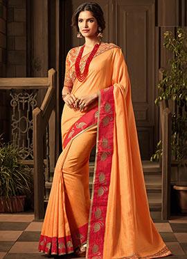 Orange Art Silk Border Saree