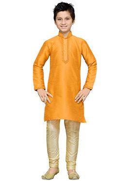Orange Art Silk Boys Kurta Pyjama
