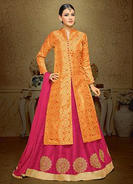 Orange Art Silk Brocade A Line Lehenga