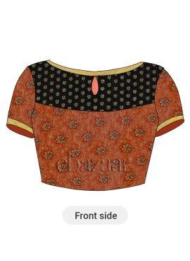 Orange Art Silk Brocade Blouse