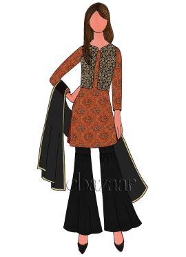 Orange Art Silk Brocade Sharara Suit
