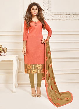 Orange Art Silk Churidar Suit