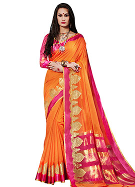 Orange Art Silk Cotton Saree
