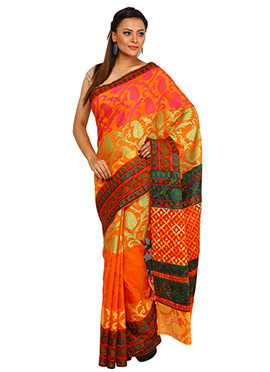 Orange Pure Cotton Saree
