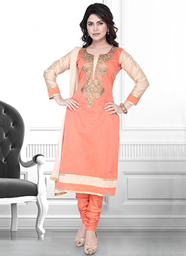 Orange Art Silk Embroidered Churidar Suit