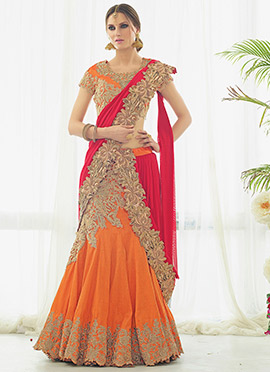 Orange Art Silk Fish Cut Lehenga Choli
