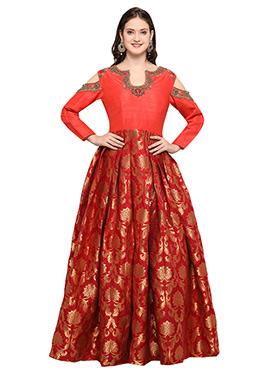 Orange Art Silk Gown