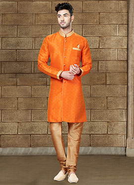 Orange Art Silk Indowestern Sherwani