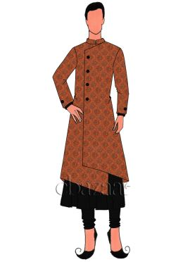 Orange Art Silk Jacket Style Sherwani