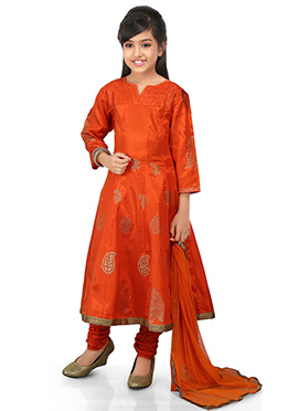 Orange Art Silk Kids Anarkali Suit