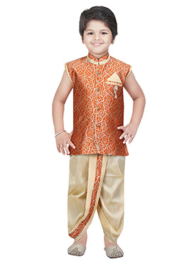 Orange Art Silk Kids Dhoti Kurta